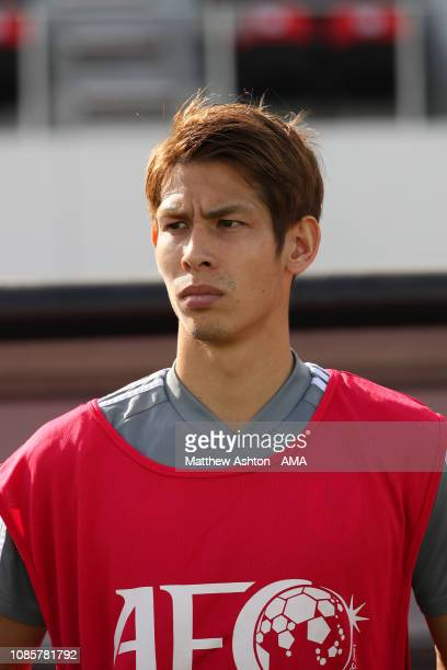 Sho Sasaki of Japan looks on prior to the AFC Asian Cup round of 16 match between Japan and Saudi Arabia at Sharjah Stadium on January 21, 2019 in...