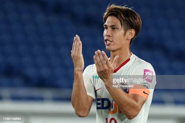 Sho Sasaki of Sanfrecce Hiroshima during the J.League Meiji Yasuda J1 match between Yokohama F.Marinos and Sanfrecce Hiroshima at Nissan Stadium on...