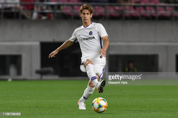 Sho Sasaki of Sanfrecce Hiroshima in action during the AFC Champions League round of 16 first leg match between Kashima Antlers and Sanfrecce...