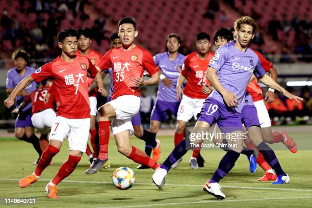 Sho Sasaki of Sanfrecce Hiroshima scores the opening goal during the AFC Champions League Group F match between Sanfrecce Hiroshima and Guangzhou...