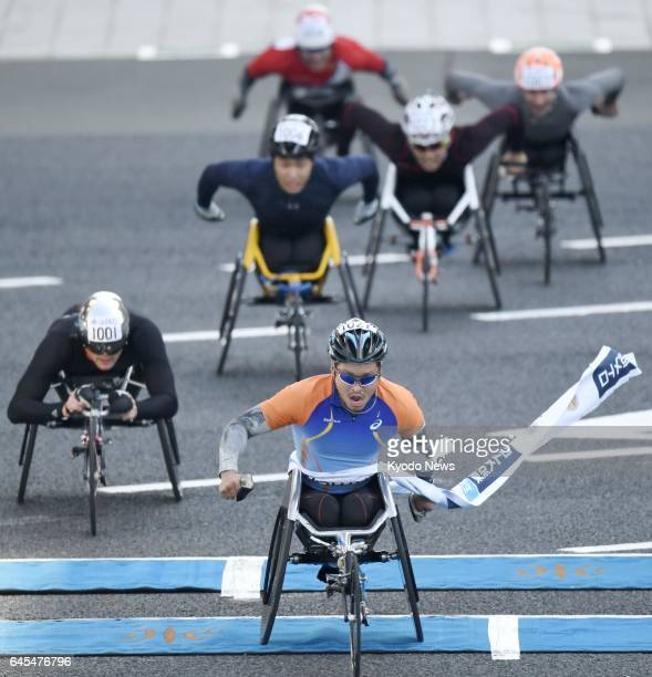 Sho Watanabe of Japan wins the Tokyo Marathon men's wheelchair title on Feb 26 in a time of 1 hour 28 minutes 1 second ==Kyodo