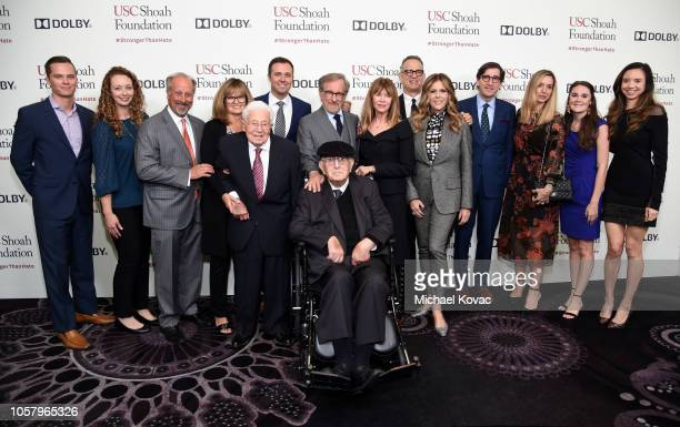 Shoah Foundation Founder Steven Spielberg, Arnold Spielberg, Kate Capshaw, and honorees Tom Hanks and Rita Wilson attend the Ambassadors For Humanity...