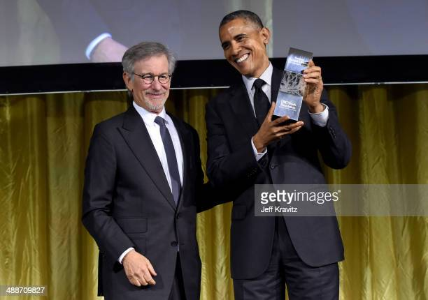 Shoah Foundation Honorary Chair Steven Spielberg and U.S. President Barack Obama, recipient of USC Shoah Foundation's Ambassadors for Humanity Award,...