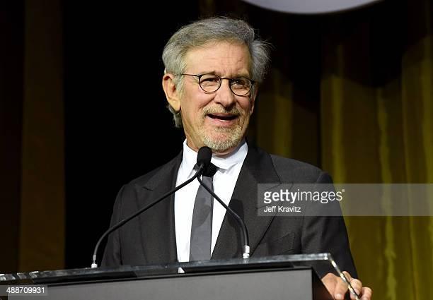 Shoah Foundation Honorary Chair Steven Spielberg speaks onstage during USC Shoah Foundation's 20th Anniversary Gala at the Hyatt Regency Century...