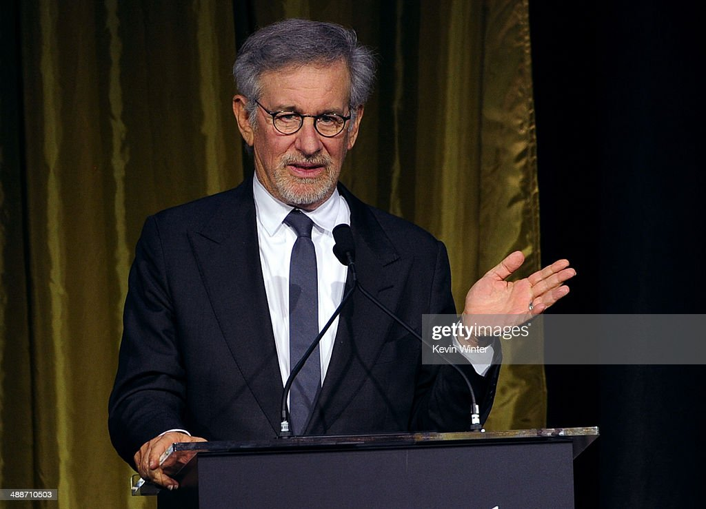 Shoah Foundation Honorary Chair Steven Spielberg speaks onstage during USC Shoah Foundation's 20th Anniversary Gala at the Hyatt Regency Century Plaza on May 7, 2014 in Century City, California.