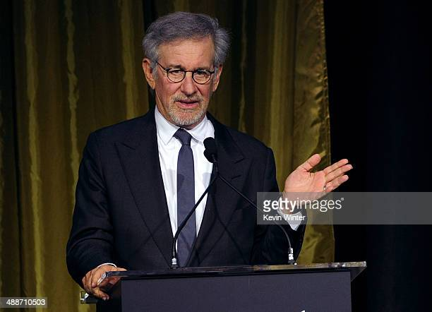Shoah Foundation Honorary Chair Steven Spielberg speaks onstage during USC Shoah Foundation's 20th Anniversary Gala at the Hyatt Regency Century...