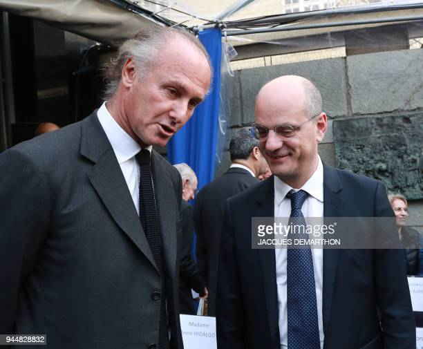 Shoah Memorial vicepresident Francois Heilbronn speaks with French Education Minister JeanMichel Blanquer as they attend a ceremony to mark Yom...