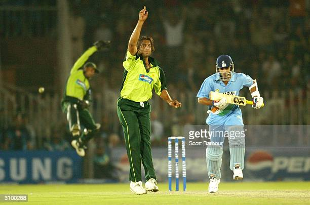 Shoaib Akhtar of Pakistan appeals successfully for LBW against Zaheer Khan of India during the second ODI between Pakistan and India played at Pindi...
