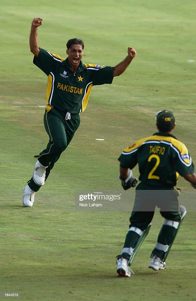 Shoaib Akhtar of Pakistan celebrates the wicket of Sachin Tendulkar of India during the ICC Cricket World Cup 2003 Pool A match between India and Pakistan held on March 1, 2003 at the Supersport Stadium, in Centurion, South Africa. India won the match by 6 wickets.