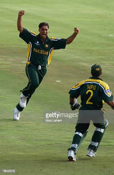 Shoaib Akhtar of Pakistan celebrates the wicket of Sachin Tendulkar of India during the ICC Cricket World Cup 2003 Pool A match between India and...