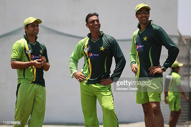Shoaib Akhtar of Pakistan who has announced his retirement from international cricket alongside Umar Gul and Ahmad Shahzad during a nets session at...