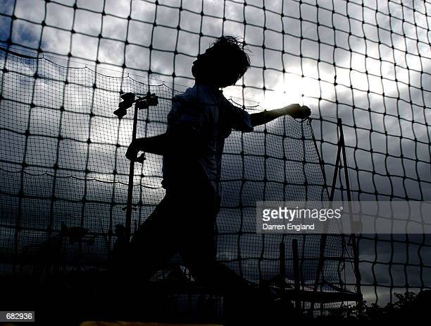 Shoaib Akhtar of the Pakistan cricket team in action during training at the Allan Border Field in Brisbane, Australia on June 7, 2002. The Pakistan...