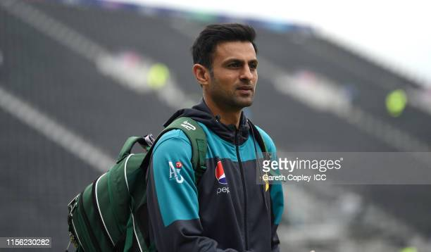 Shoaib Malik of Pakistan arrives ahead of the Group Stage match of the ICC Cricket World Cup 2019 between Pakistan and India at Old Trafford on June...