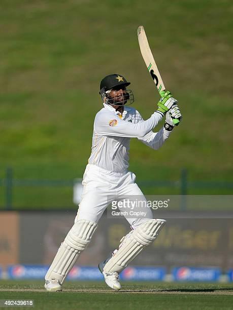 Shoaib Malik of Pakistan bats during the 1st Test between Pakistan and England at Zayed Cricket Stadium on October 13 2015 in Abu Dhabi United Arab...