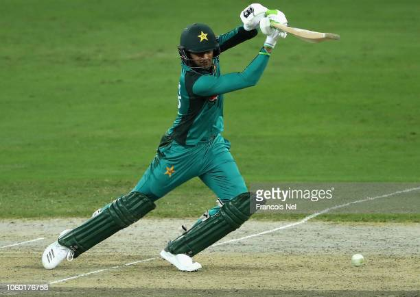 Shoaib Malik of Pakistan bats during the 3rd One Day International match between Pakistan and New Zealand at Dubai International Stadium on November...