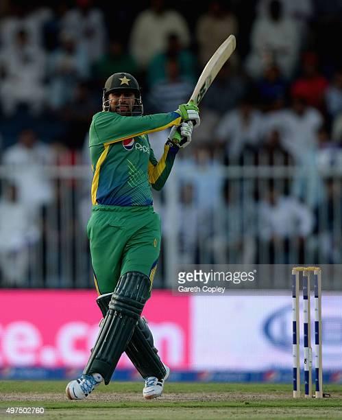 Shoaib Malik of Pakistan bats during the 3rd One Day International match between Pakistan and England at Sharjah Cricket Stadium on November 17 2015...