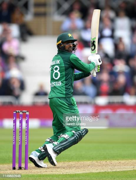 Shoaib Malik of Pakistan bats during the 4th One Day International between England and Pakistan at Trent Bridge on May 17, 2019 in Nottingham,...