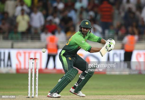 Shoaib Malik of Pakistan bats during the first One Day International match between Pakistan and Sri Lanka at Dubai International Stadium on October...