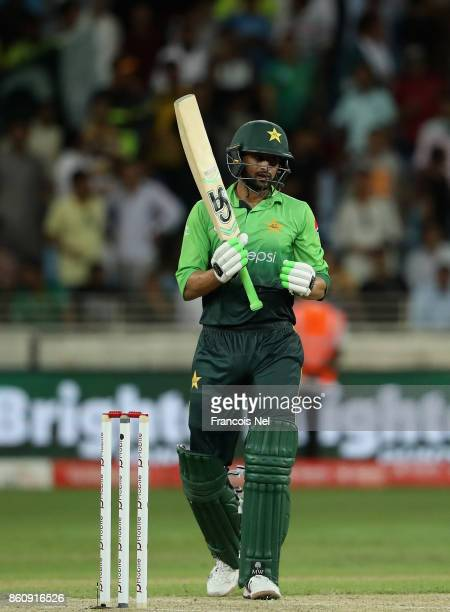 Shoaib Malik of Pakistan bats during the first One Day International match between Pakistan and Sri Lanka at Dubai International Stadium on October...