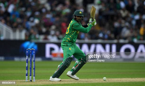 Shoaib Malik of Pakistan bats during the ICC Champions Trophy match between Pakistan and South Africa at Edgbaston on June 7 2017 in Birmingham...