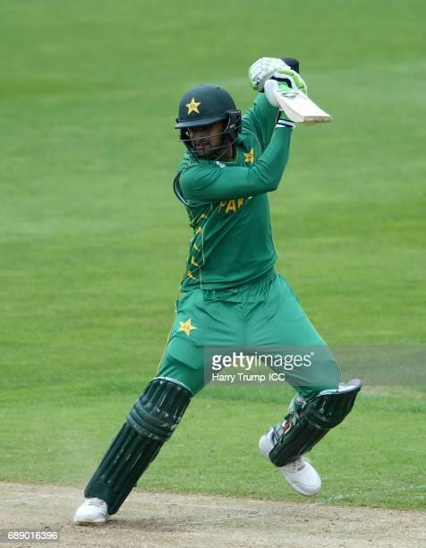 Shoaib Malik of Pakistan bats during the ICC Champions Trophy Warmup match between Bangladesh and Pakistan at Edgbaston on May 27 2017 in Birmingham...