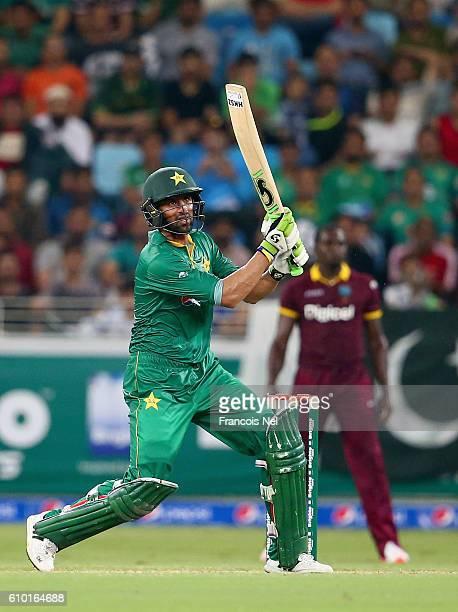 Shoaib Malik of Pakistan bats during the second T20 International match between Pakistan and West Indies at Dubai International Cricket Stadium on...