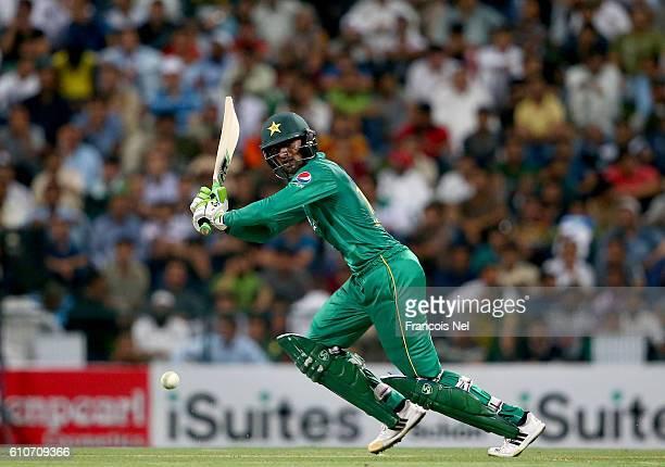 Shoaib Malik of Pakistan bats during the third T20 International match between Pakistan and West Indies at Zayed Cricket Stadium on September 27 2016...