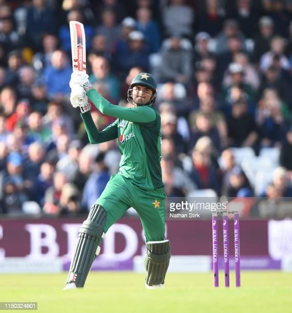 Shoaib Malik of Pakistan batting during the 5th Royal London ODI match between England and Pakistan at Headingley on May 19, 2019 in Leeds, England.