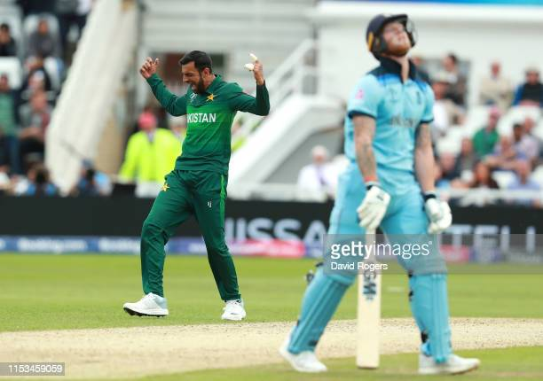 Shoaib Malik of Pakistan celebrates after taking the wicket of Ben Stokes during the Group Stage match of the ICC Cricket World Cup 2019 between...