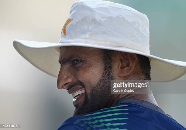 Shoaib Malik of Pakistan during a nets session at the ICC Cricket Academy on October 20 2015 in Dubai United Arab Emirates