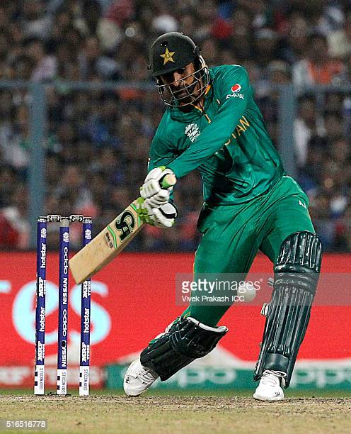 Shoaib Malik of Pakistan hits a shot during the ICC World Twenty20 India 2016 match between Pakistan and India at Eden Gardens on March 19 2016 in...