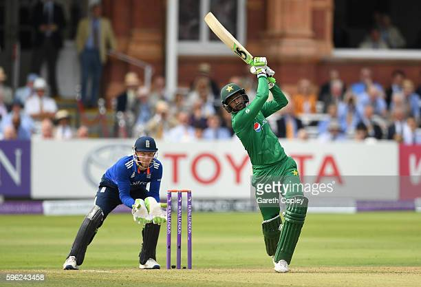 Shoaib Malik of Pakistan hits out for six runs during the 2nd One Day International match between England and Pakistan on August 27 2016 in London...