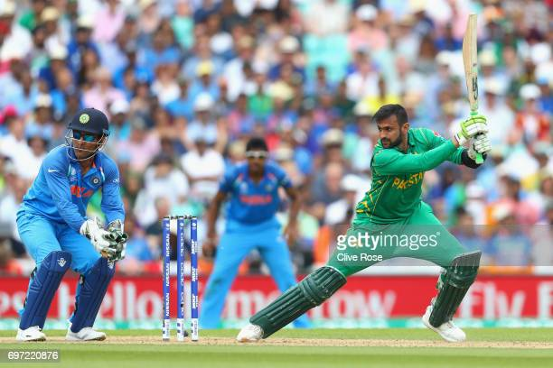Shoaib Malik of Pakistan in action during the ICC Champions trophy cricket match between India and Pakistan at The Oval in London on June 18 2017