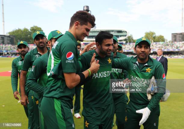 Shoaib Malik of Pakistan is given a guard of honour as he makes his way off the pitch for his final ODI during the Group Stage match of the ICC...