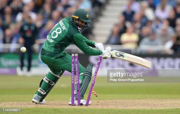 Shoaib Malik of Pakistan is out hit wicket during the fourth oneday international between England and Pakistan at Trent Bridge on May 17 2019 in...