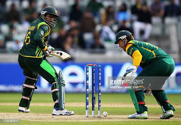 Shoaib Malik of Pakistan looks on after he is bowled by JP Duminey of South Africa during the ICC Champions Trophy Group B match between Pakistan and...