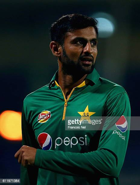 Shoaib Malik of Pakistan looks on during the second One Day International match between Pakistan and West Indies at Sharjah Cricket Stadium on...
