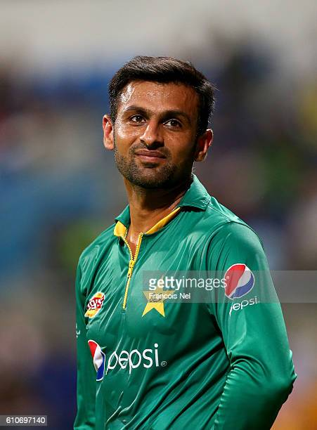 Shoaib Malik of Pakistan looks on during the third T20 International match between Pakistan and West Indies at Zayed Cricket Stadium on September 27...