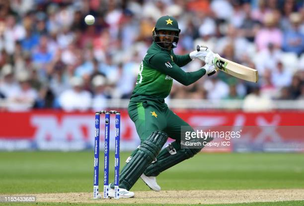 Shoaib Malik of Pakistan plays a shot during the Group Stage match of the ICC Cricket World Cup 2019 between England and Pakistan at Trent Bridge on...