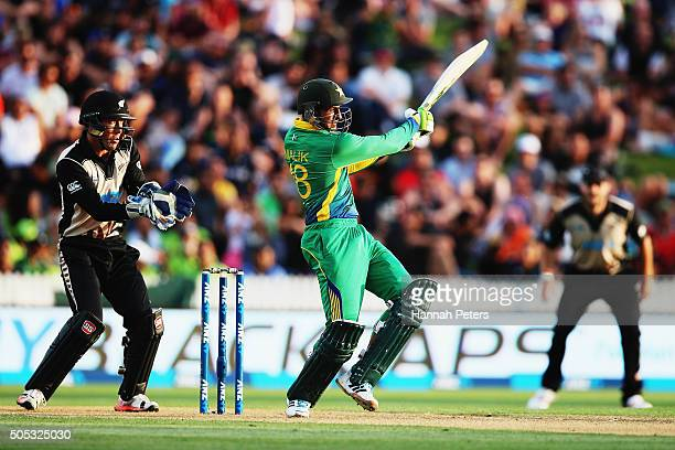 Shoaib Malik of Pakistan plays the ball away for four runs during the International Twenty20 match between New Zealand and Pakistan at Seddon Park on...