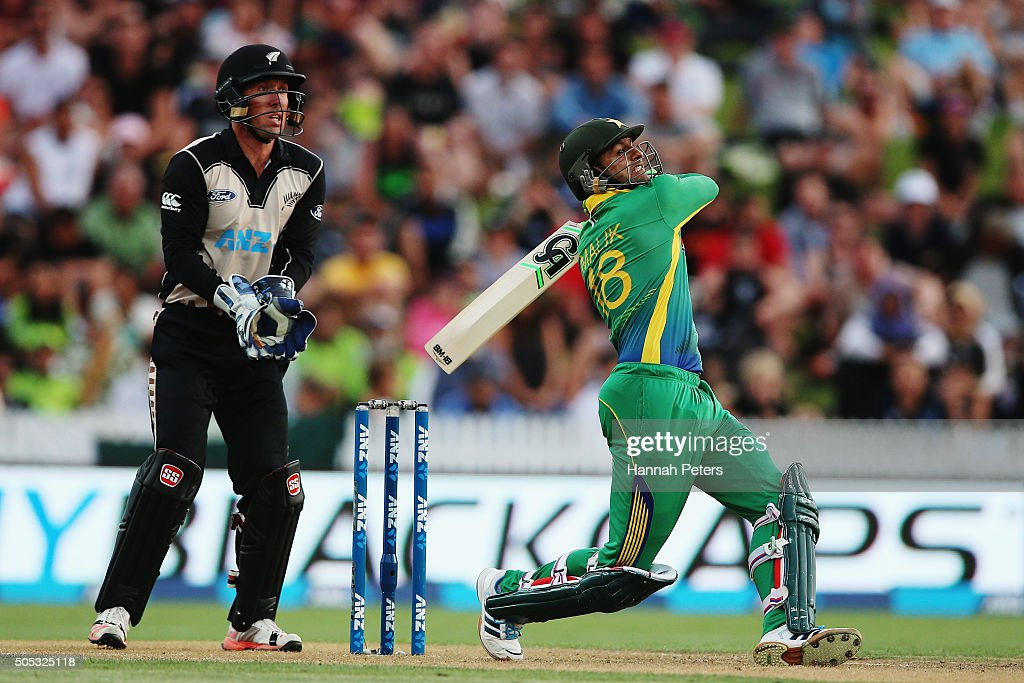 Shoaib Malik of Pakistan plays the ball away for four runs during the International Twenty20 match between New Zealand and Pakistan at Seddon Park on January 17, 2016 in Hamilton, New Zealand.