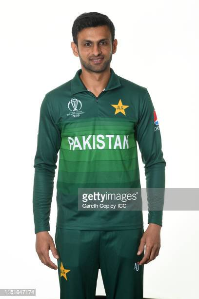 Shoaib Malik of Pakistan poses for a portrait prior to the ICC Cricket World Cup 2019 at on May 25, 2019 in Cardiff, Wales.