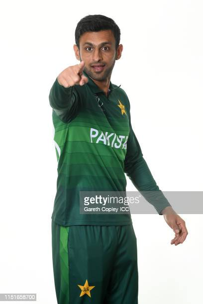 Shoaib Malik of Pakistan poses for a portrait prior to the ICC Cricket World Cup 2019 at on May 25 2019 in Cardiff Wales
