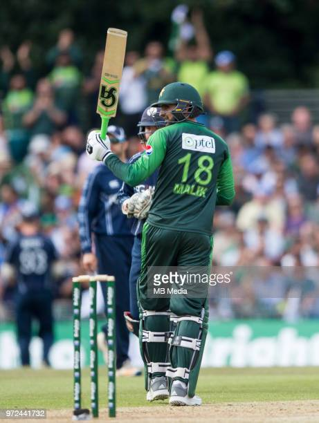 Shoaib Malik of Pakistan reaches 50 during the International T20 Friendly match between Scotland and Pakistan at the Grange Cricket Club on June 12...