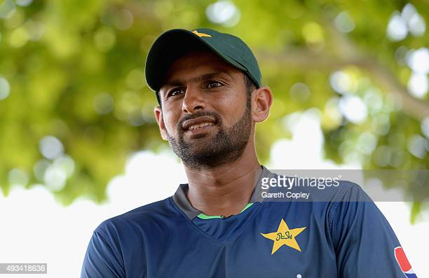 Shoaib Malik of Pakistan speaks to the media during a nets session at the ICC Cricket Academy on October 20 2015 in Dubai United Arab Emirates