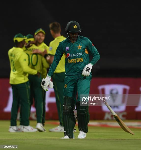 Shoaib Malik of Pakistan throws his bat after being dismissed during the 1st KFC T20 International match between South Africa and Pakistan at PPC...