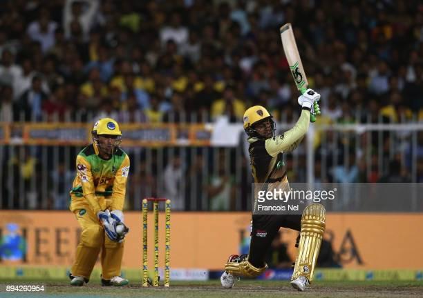 Shoaib Malik of Punjabi Legends bats during the semi final T10 match between Pakhtoons and Punjabi Legends at Sharjah Cricket Stadium on December 17...