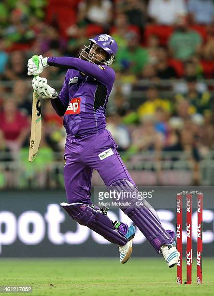 Shoaib Malik of the Hurricanes bats during the Big Bash League match between the Sydney Thunder and Hobart Hurricanes at Spotless Stadium on January...