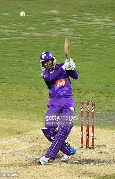 Shoaib Malik of the Hurricanes bats during the Big Bash League match between the Brisbane Heat and Hobart Hurricanes at The Gabba on January 15 2015...