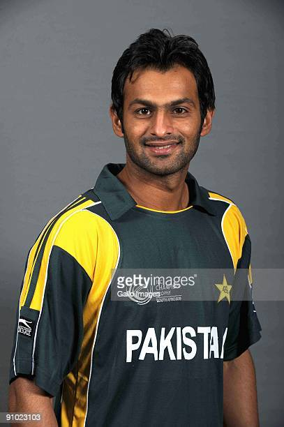 Shoaib Malik poses during the ICC Champions photocall session of Pakistan at Sandton Sun on September 19 2009 in Sandton South Africa Photo by Lee...